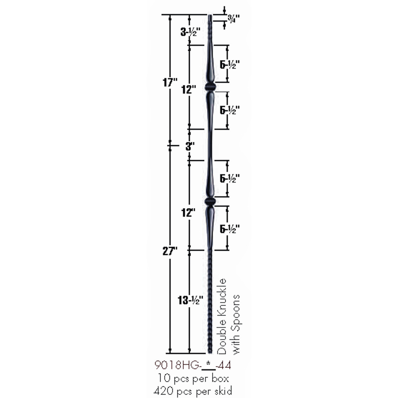 9018HG Gothic Double Knuckle Hammered Baluster Dimensional Information
