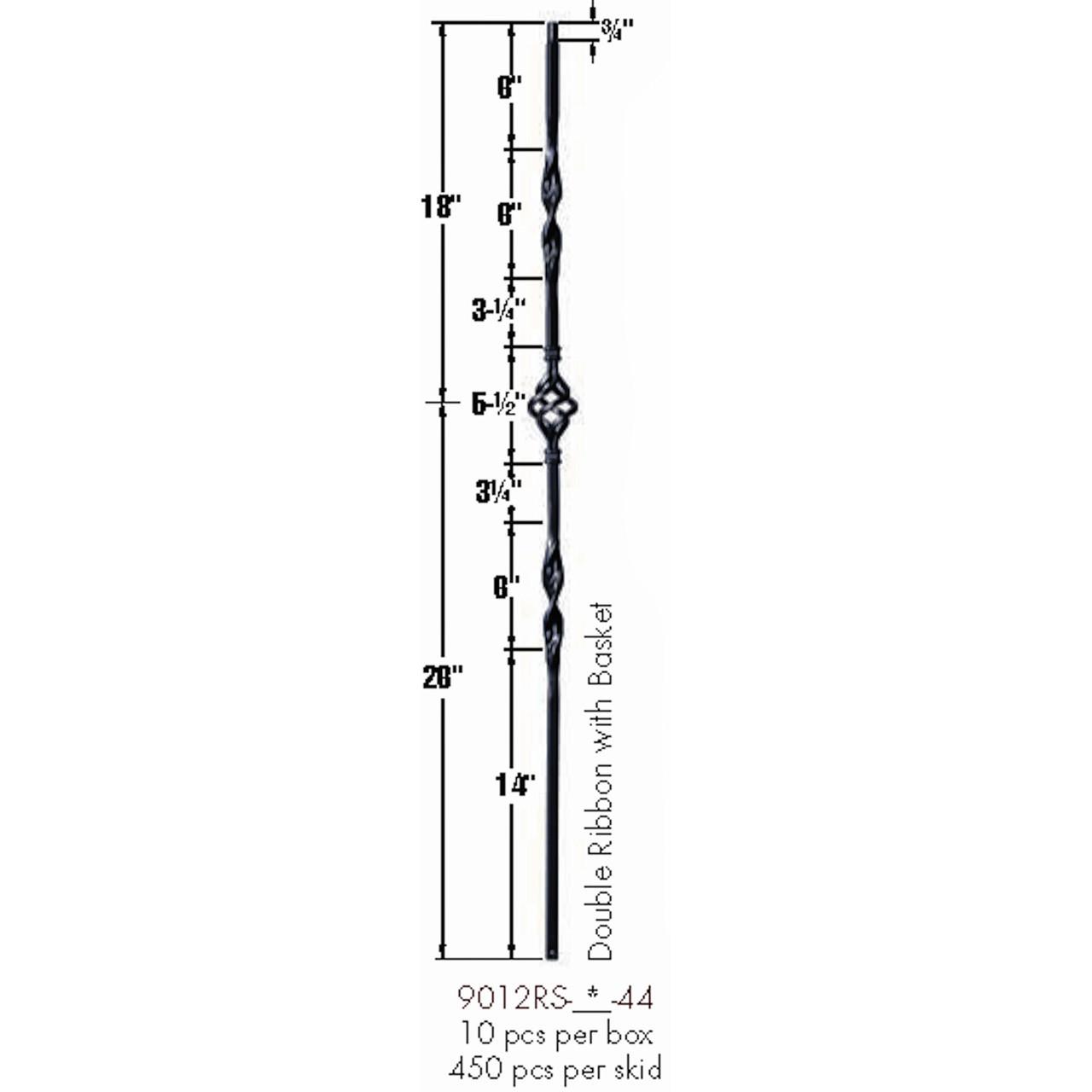 9012RS Double Ribbon Single Basket Tubular Steel Baluster Dimensional Information