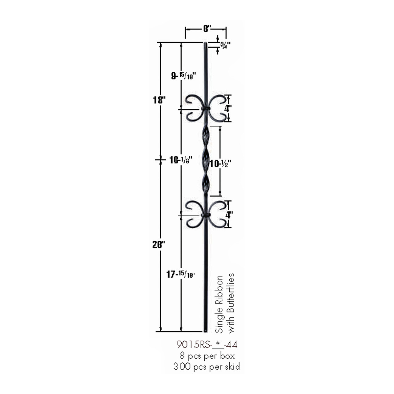 9015RS Double Butterfly Single Ribbon Tubular Steel Baluster Dimensional Information