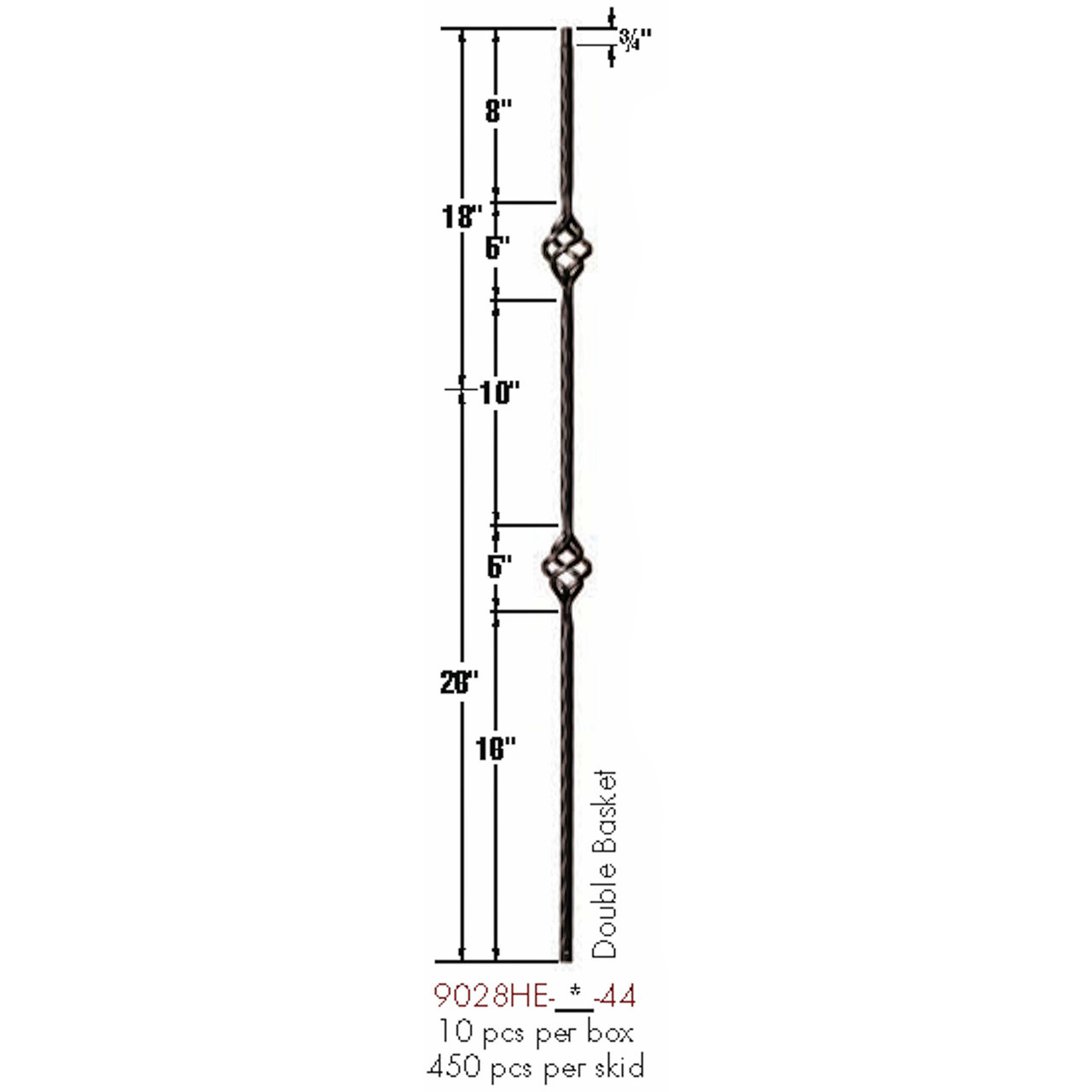 9028HE Double Basket Edge Hammered Baluster
