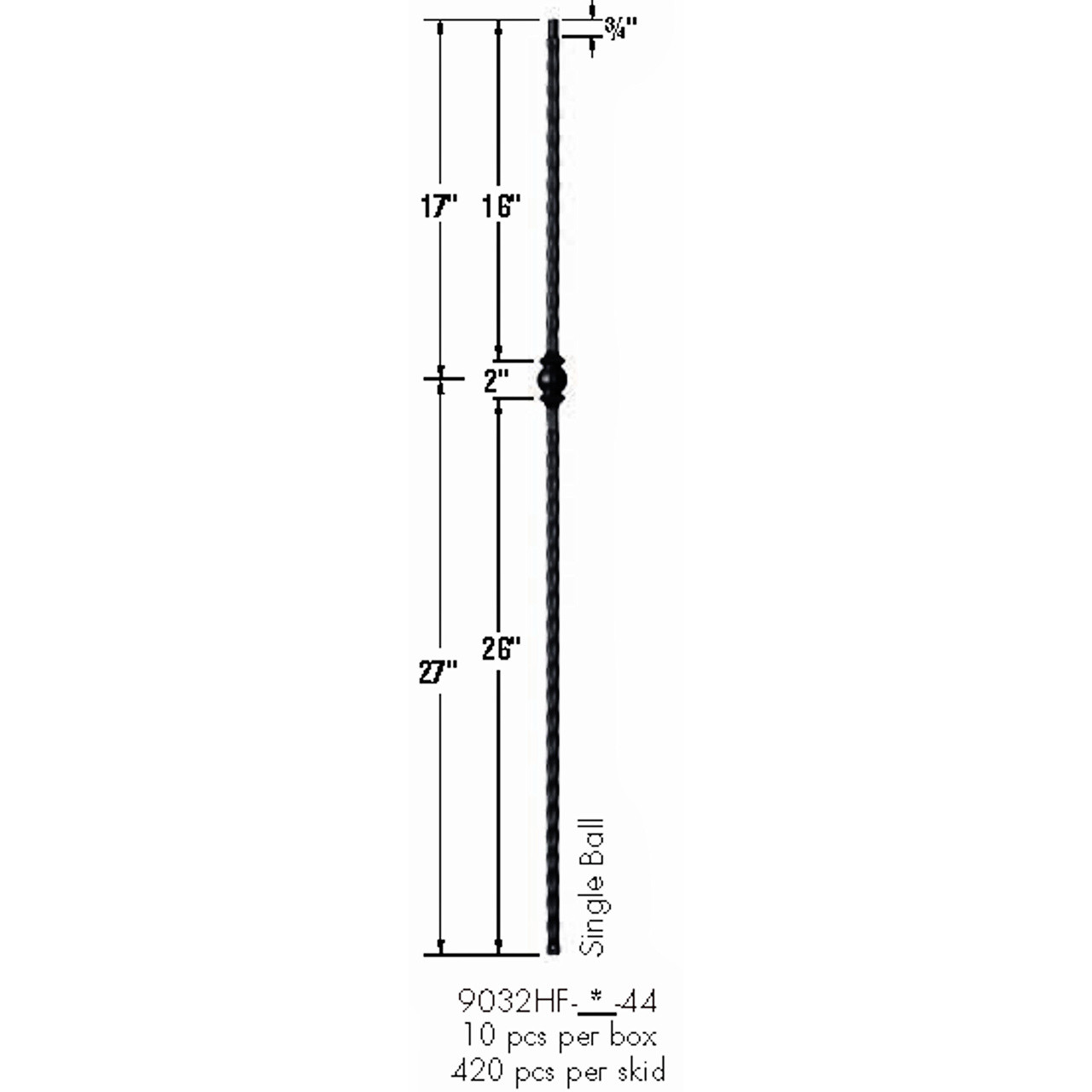 9032HF Single Ball with Hammered Face Baluster Dimensional Information