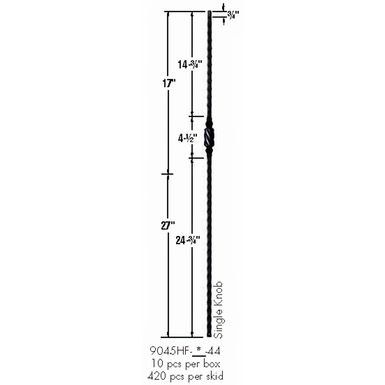 9045HF Single Knob with Hammered Face Baluster Dimensional Information