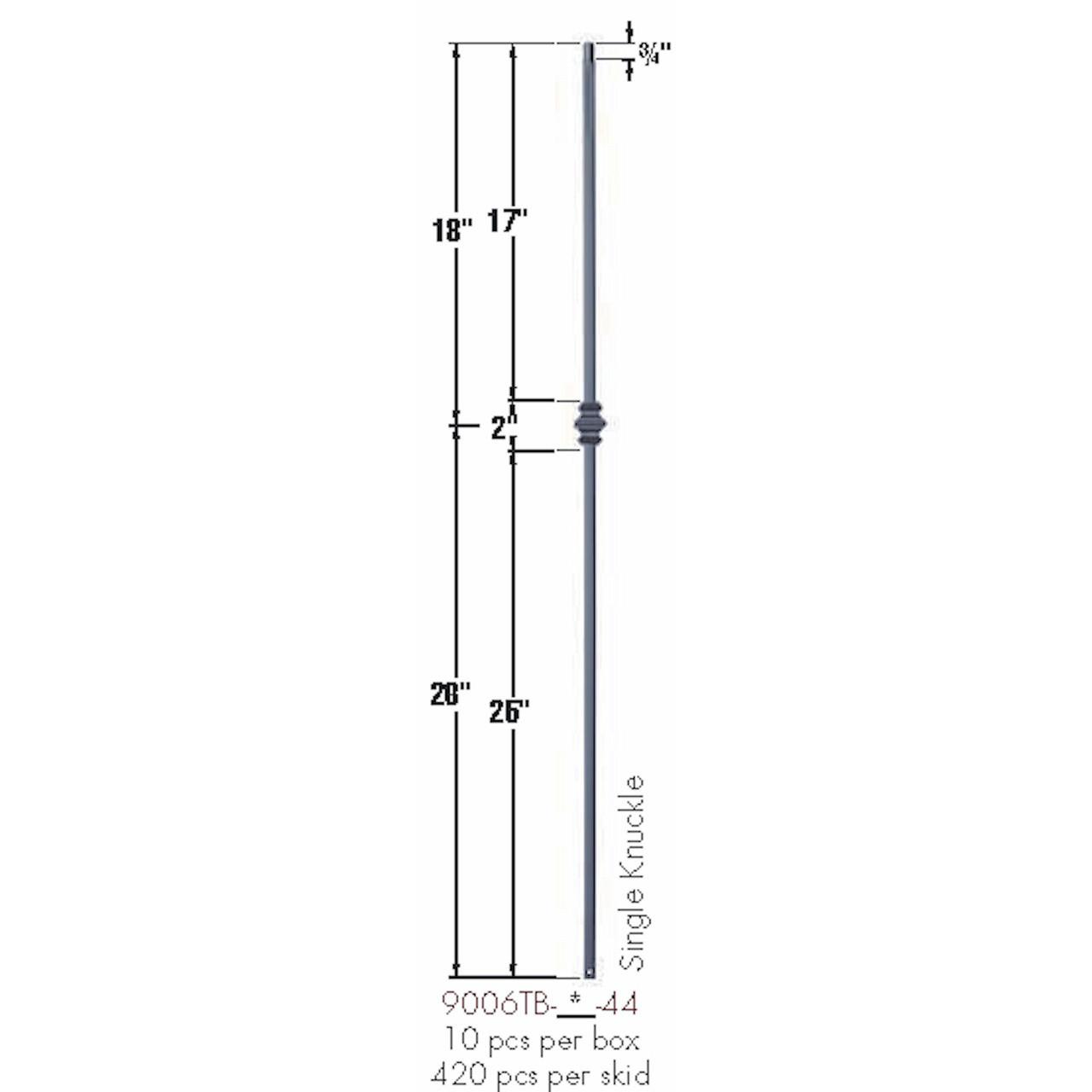 9006TB Satin Black Single Knuckle Tubular Steel Baluster Dimensional Information