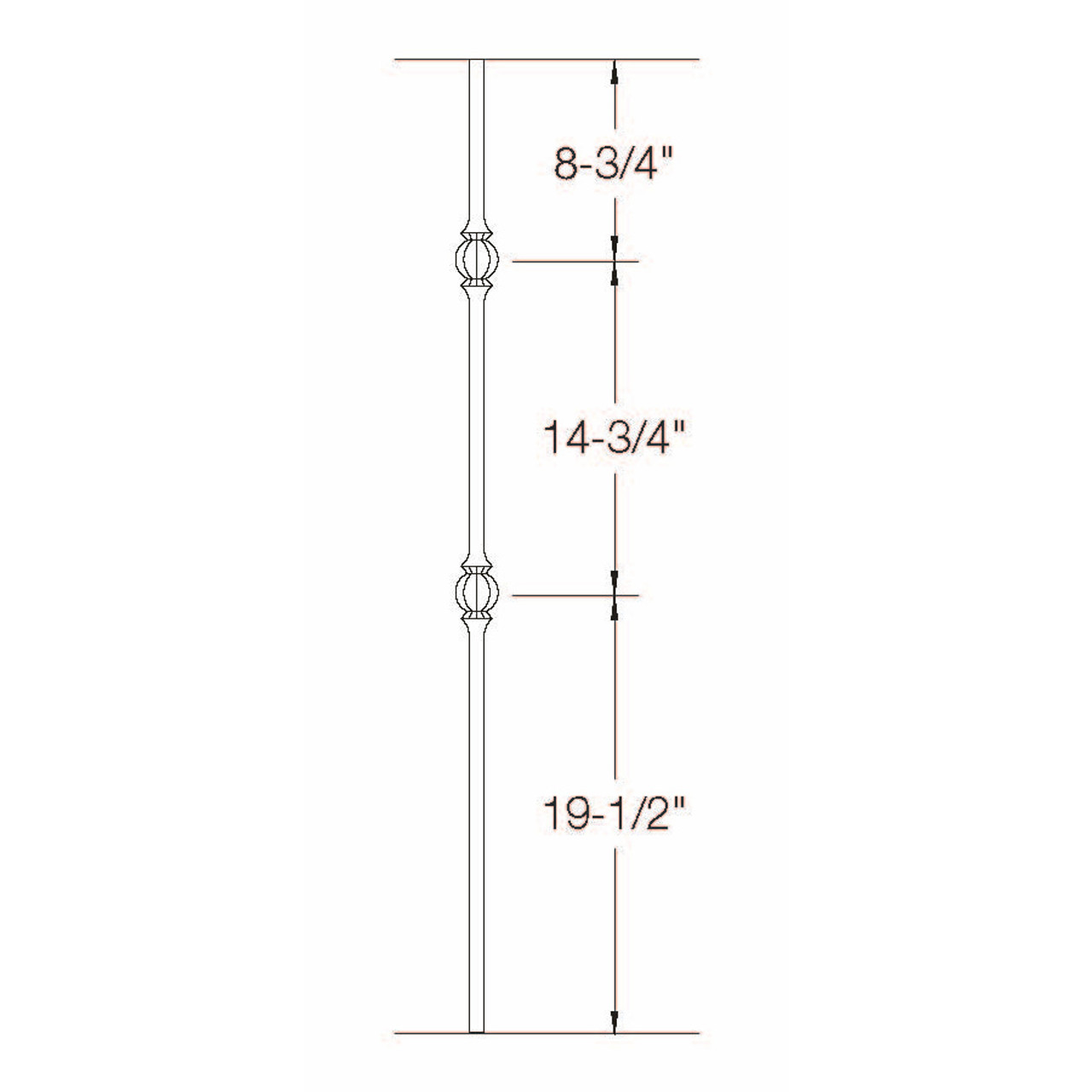 2GR23 16mm Round Double Ball Tubular Steel Baluster  Dimensional Information