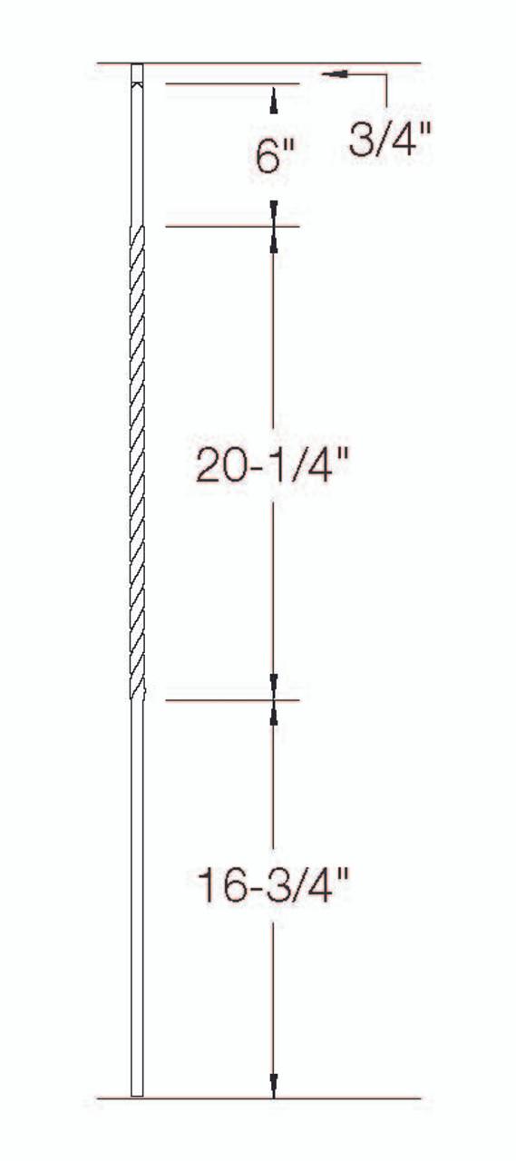 "T-27 Single 20"" Long Twist dimensional information"
