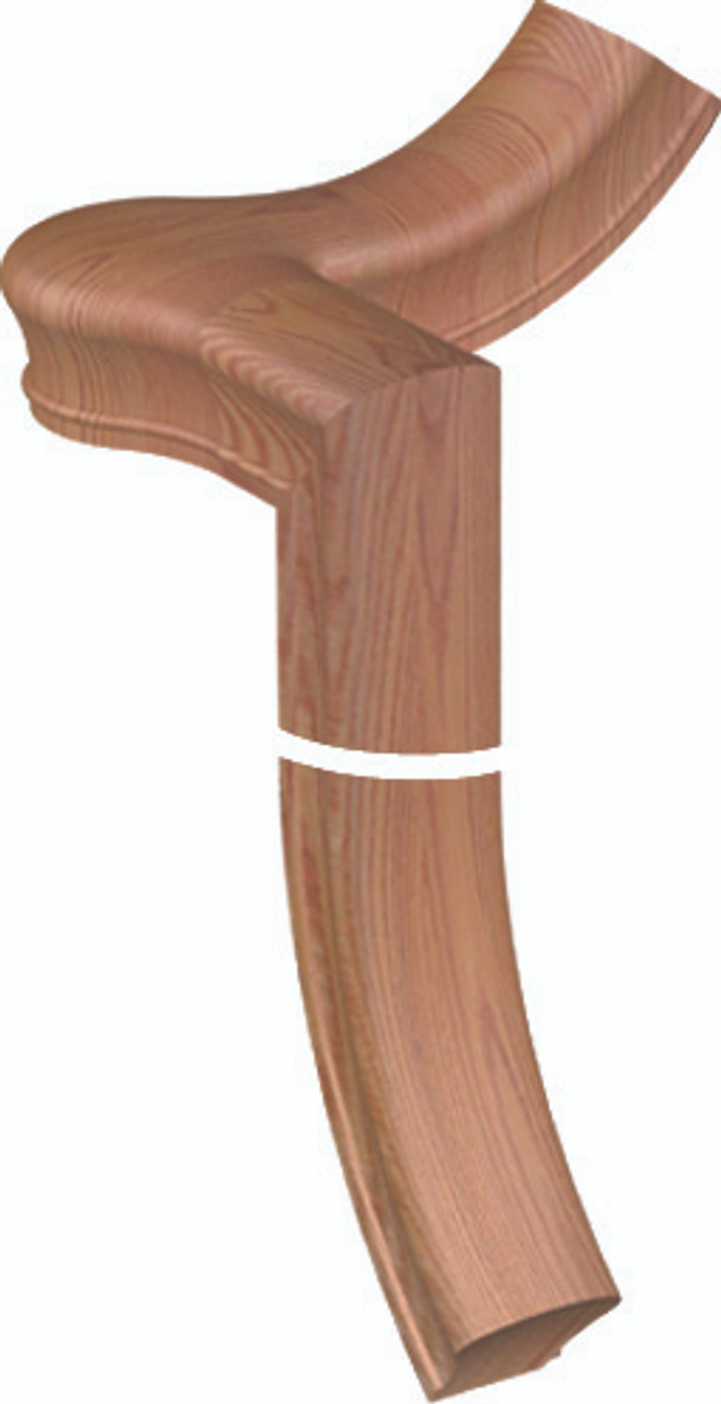 SP-7065 Right Hand Red Oak Gooseneck with Quarter-turn Cap for the 6010 Handrail