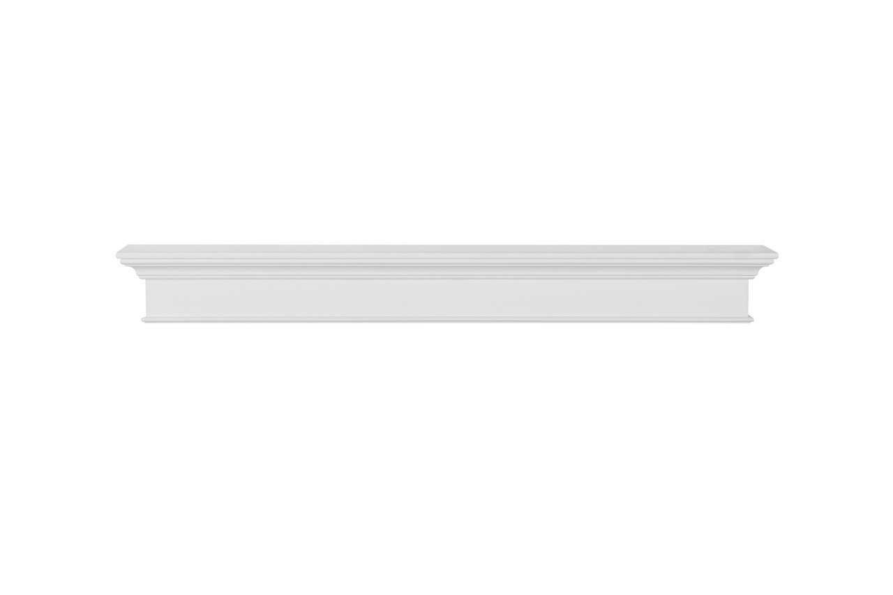 The Henry MDF Mantel Shelf, Painted White, Front View