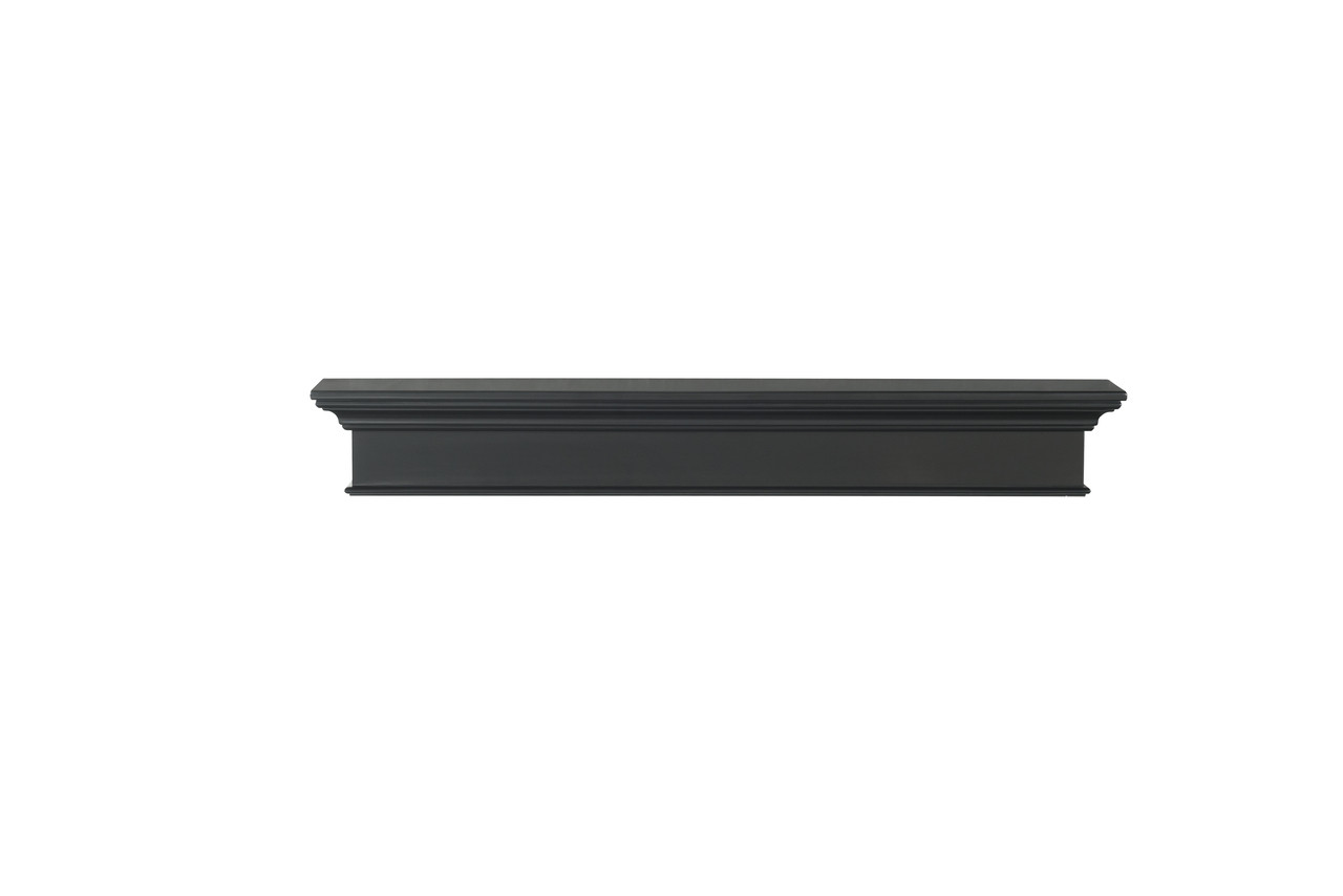 The Henry MDF Mantel Shelf, Painted Black, Front View