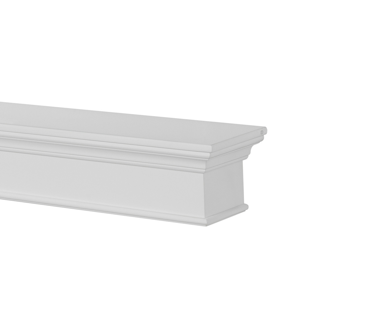 The Henry MDF Mantel Shelf, Painted White, Right Corner View