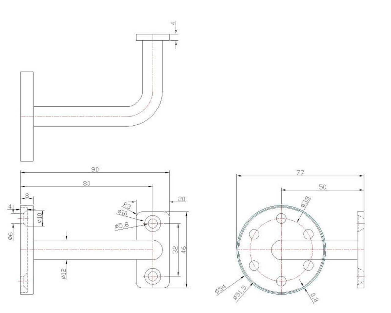 IF457XS4 Stainless Steel Flat Arm Wall Rail Bracket, CADD Drawing