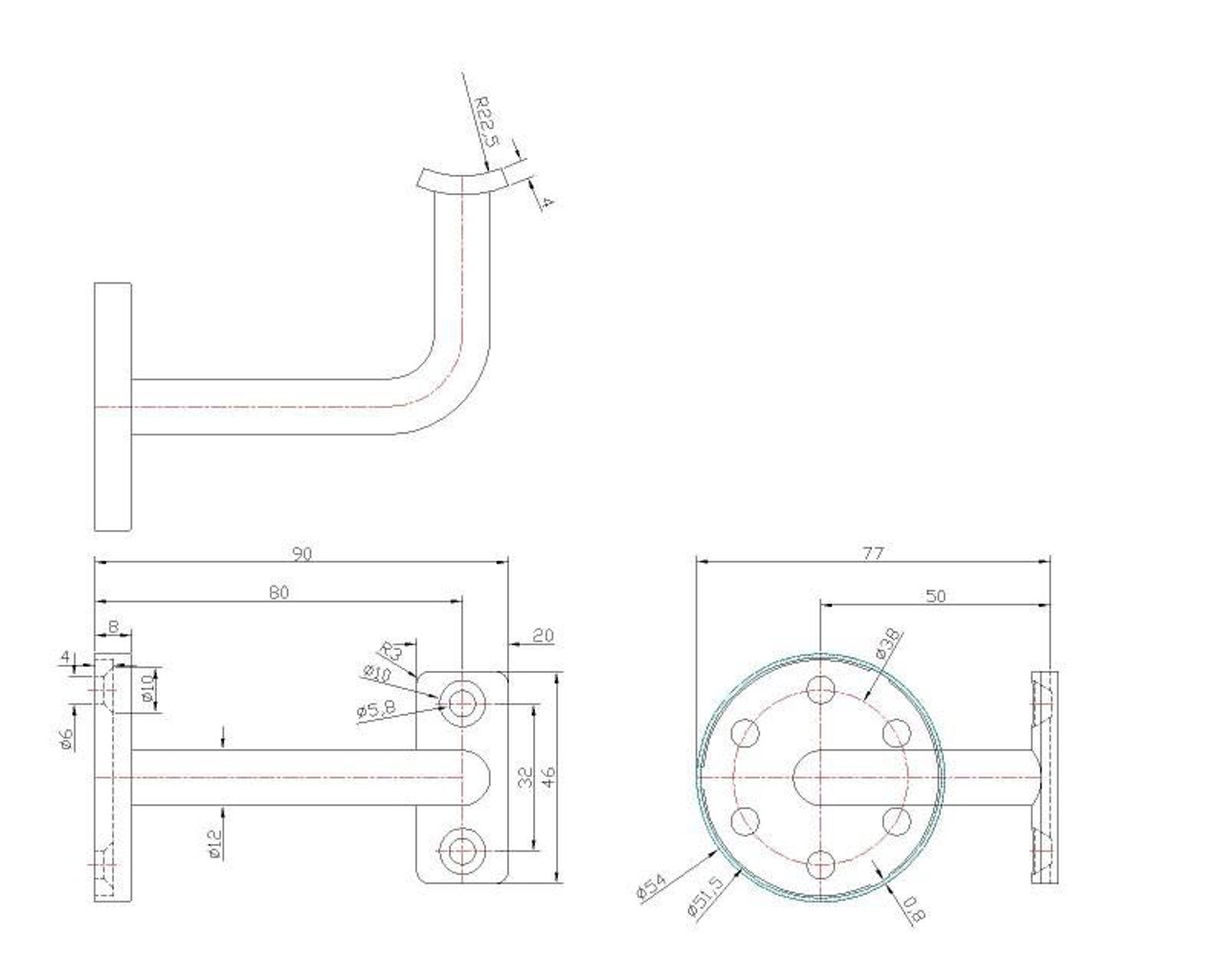 IF456XS4 Stainless Steel Curved Arm Wall Rail Bracket, CADD Drawing