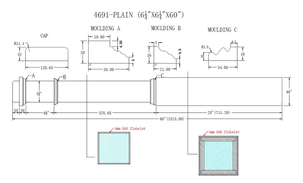 HF-4691 Plain Red Oak Box Newel Post