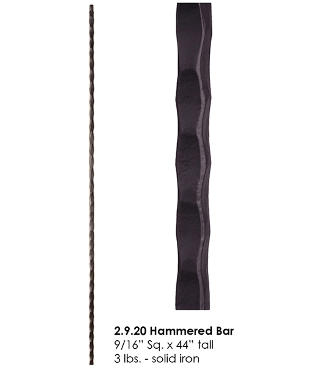 HF2.9.20 Straight Tuscan-Orleans Hammered Bar
