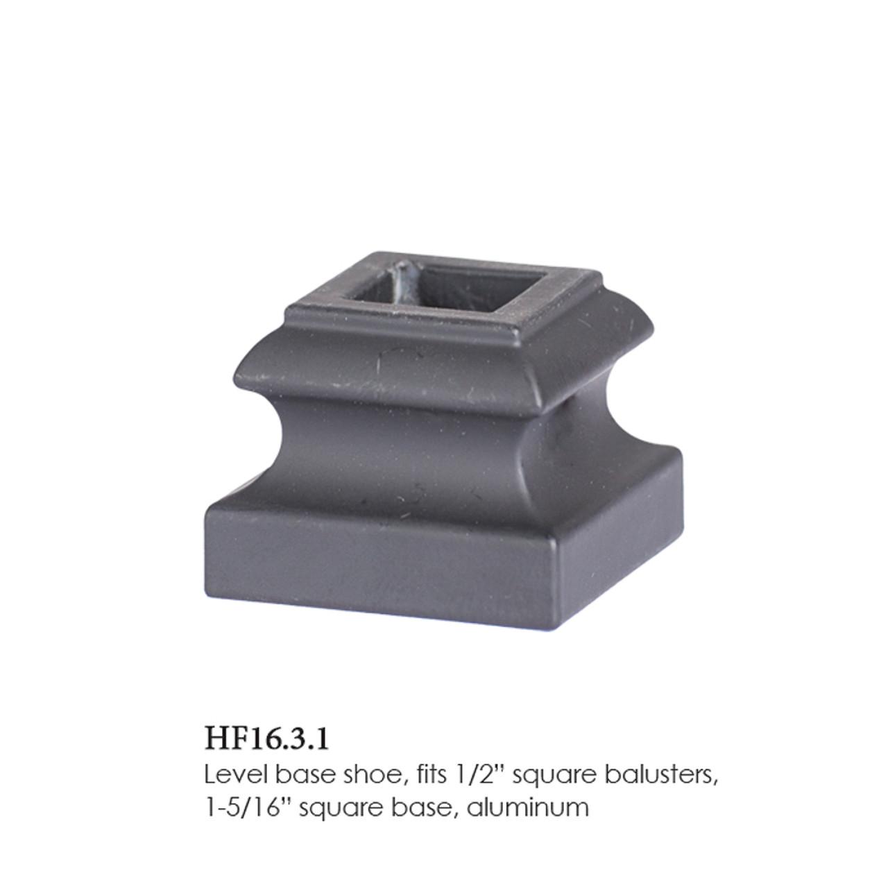 "HF16.3.1 Flat Shoe for 12mm (1/2"") Balusters, Aluminum"