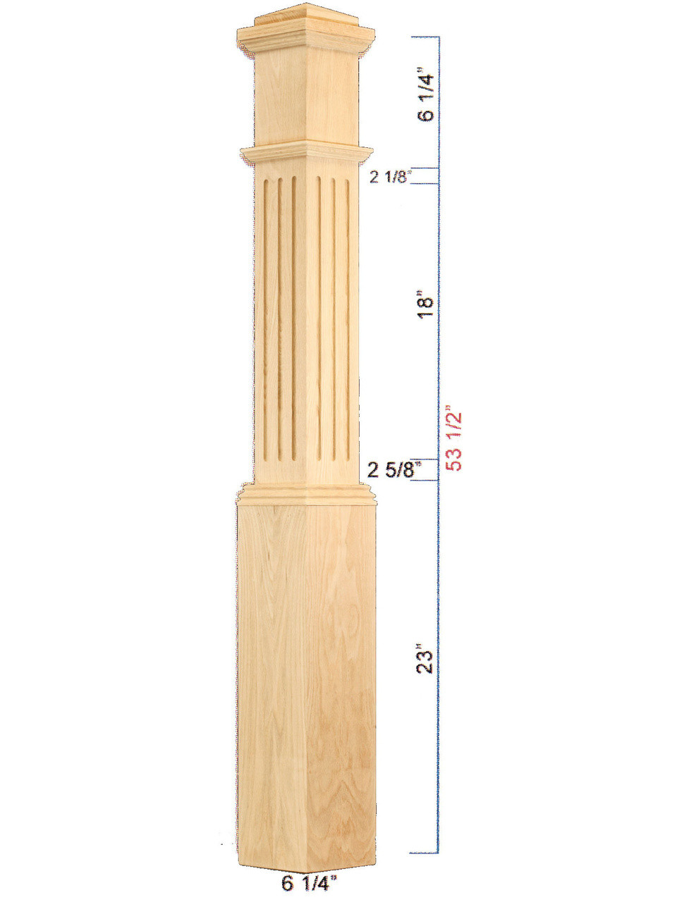 C-4091-F Fluted Traditional Box Newel Dimensional Information
