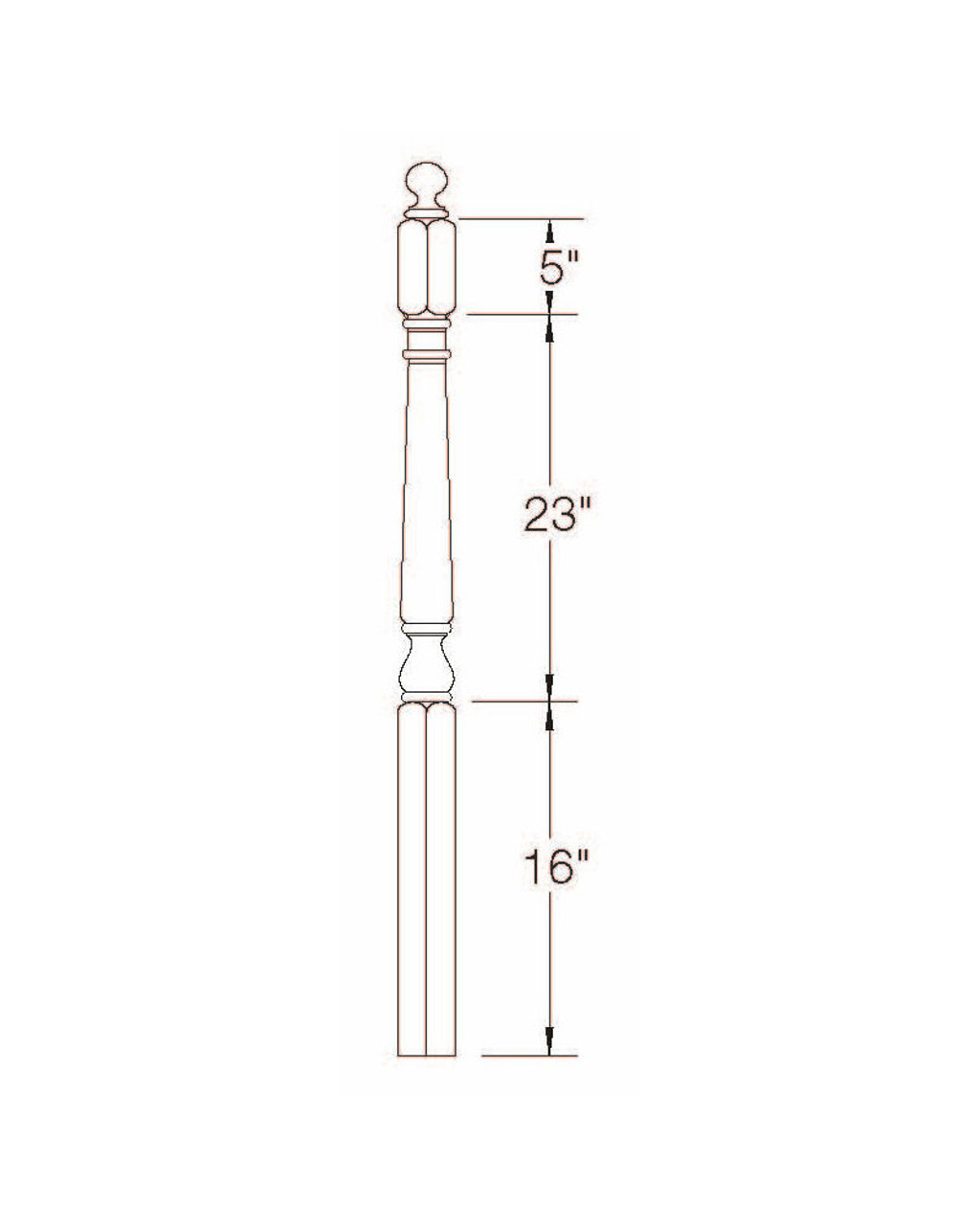 """A-4010BT 48"""" Colonial Ball Top Starting Newel Post Dimensional Information"""