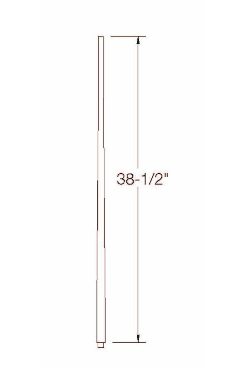 """A-5340 1-3/4"""" x 39"""" Colonial Long Tapered Baluster Dimensional Information"""