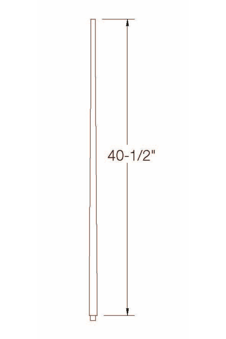 """A-5340 1-3/4"""" x 41"""" Colonial Long Tapered Baluster Dimensional Information"""