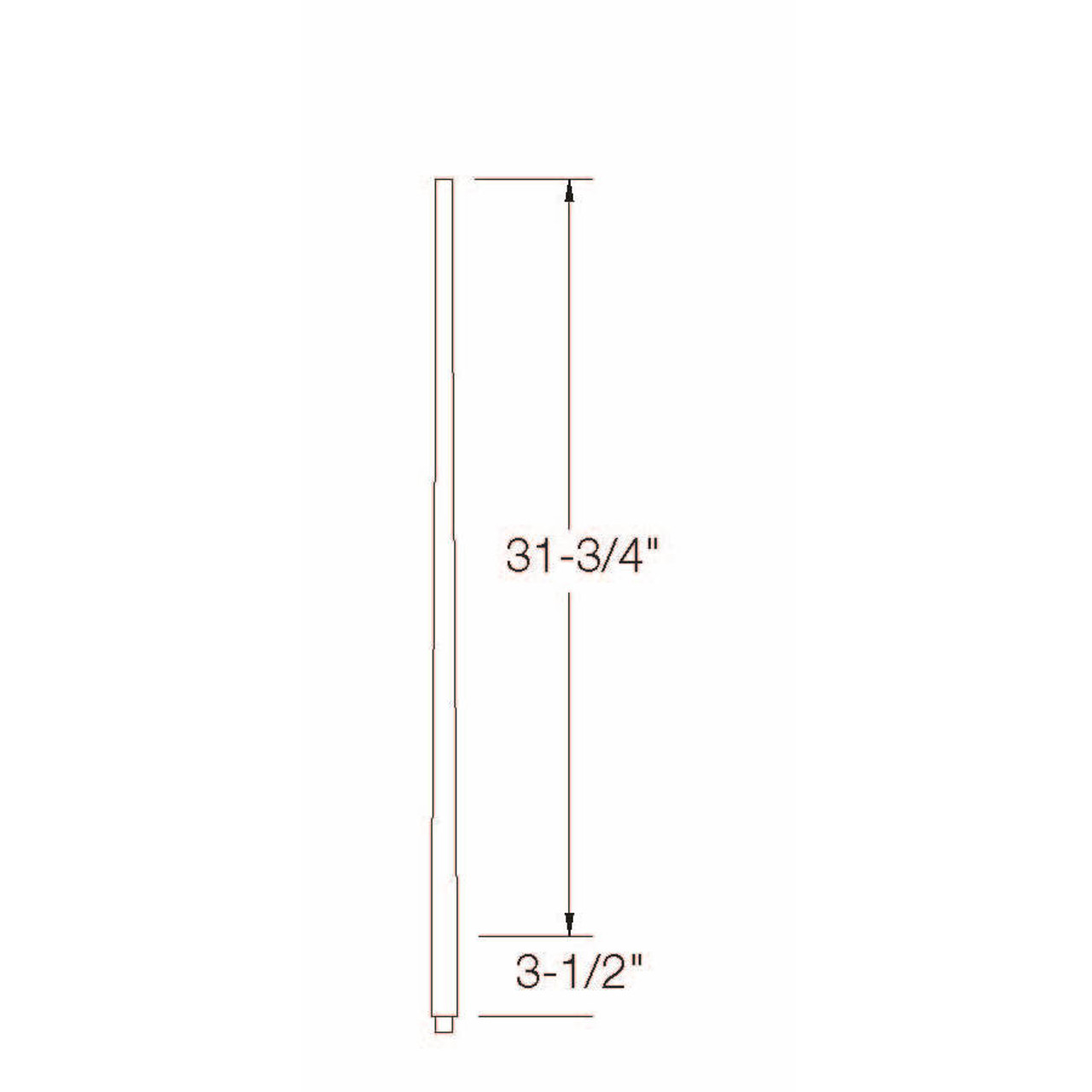 """A-5040 1-1/4"""" x 36"""" Colonial Long Tapered Baluster Dimensional Information"""