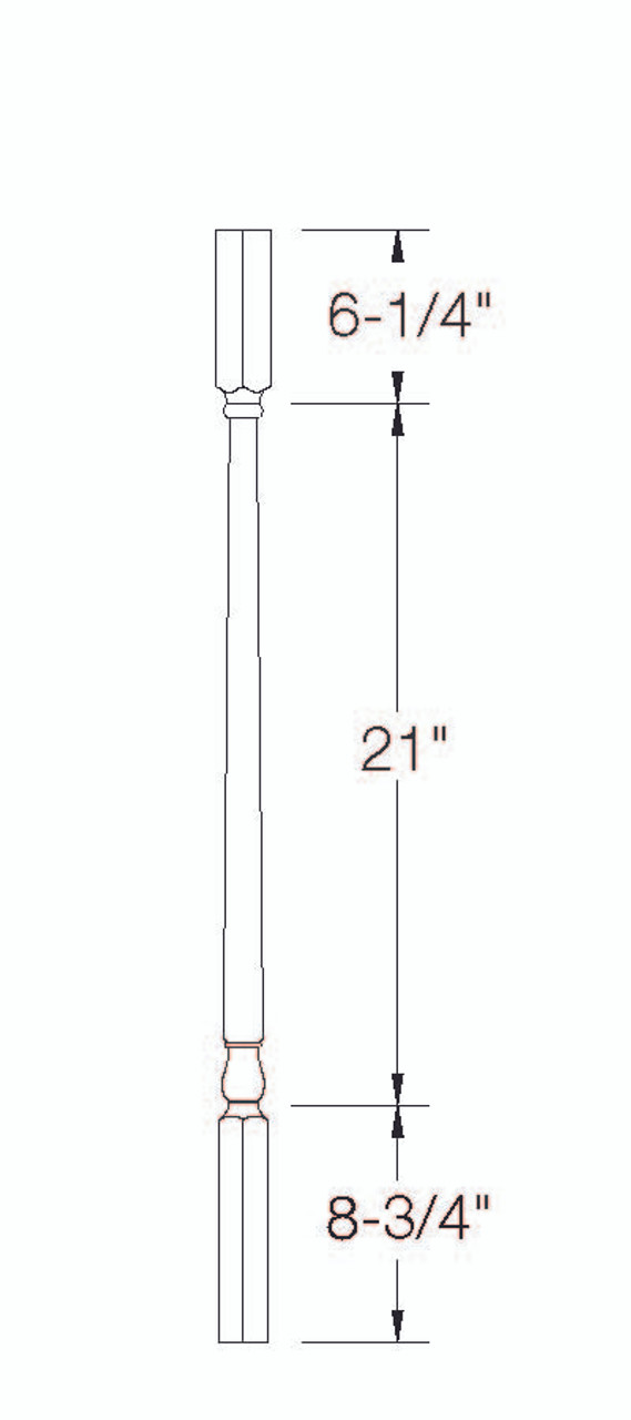 """A-5141 36"""" Square Top Colonial Baluster Dimensional Information"""