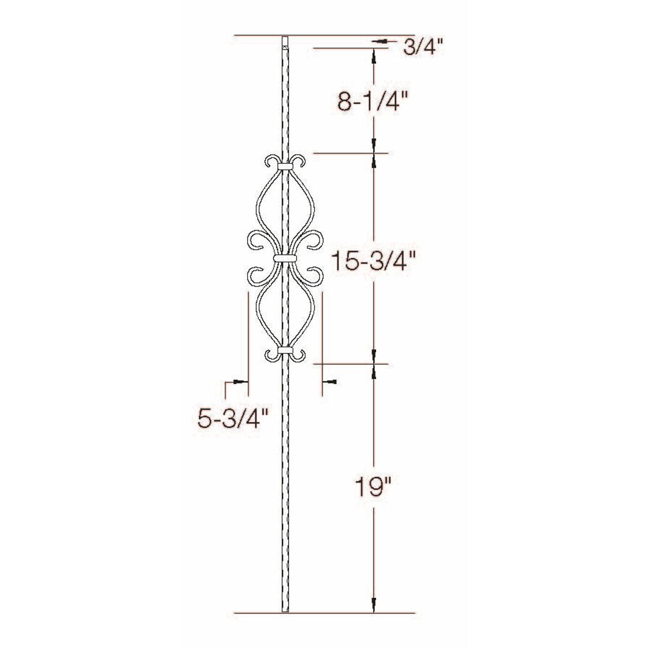 T-35 Hour Glass Scroll Baluster, Satin Black Dimensional Information