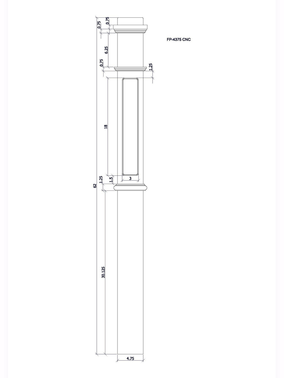 FP-4091 CNC Routed Box Newel Post, CADD Image