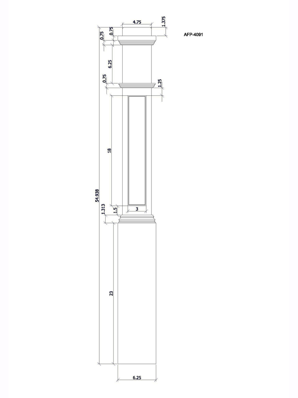 AFP-4092 Box Newel Post, CADD Image