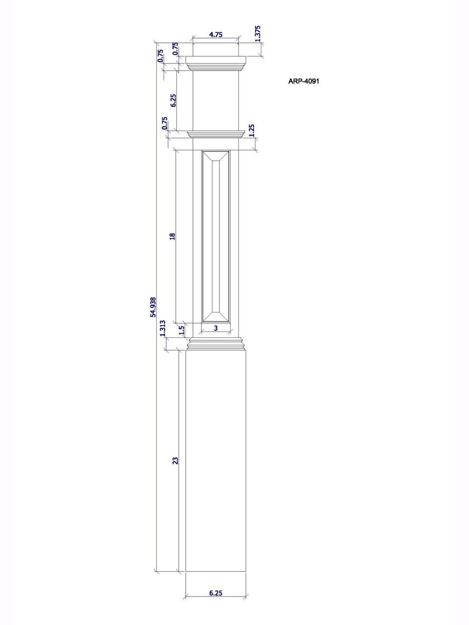 ARP-4092 Box Newel Post, CADD Image