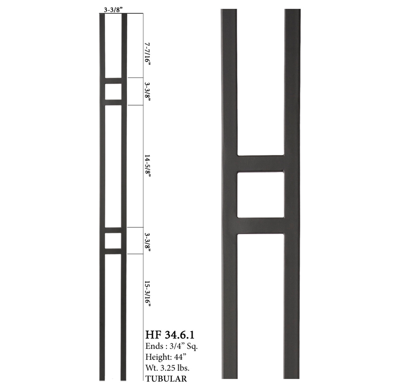 HF34.6.1 MEGA Double Square Aalto Steel Baluster