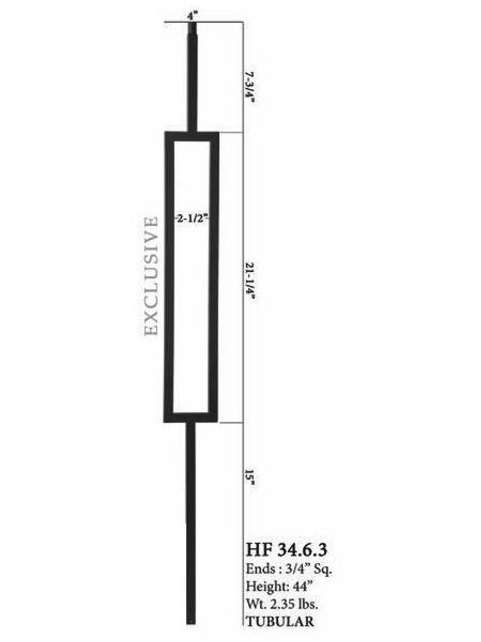 HF34.6.3 MEGA Single Rectangle Aalto Steel Baluster 2