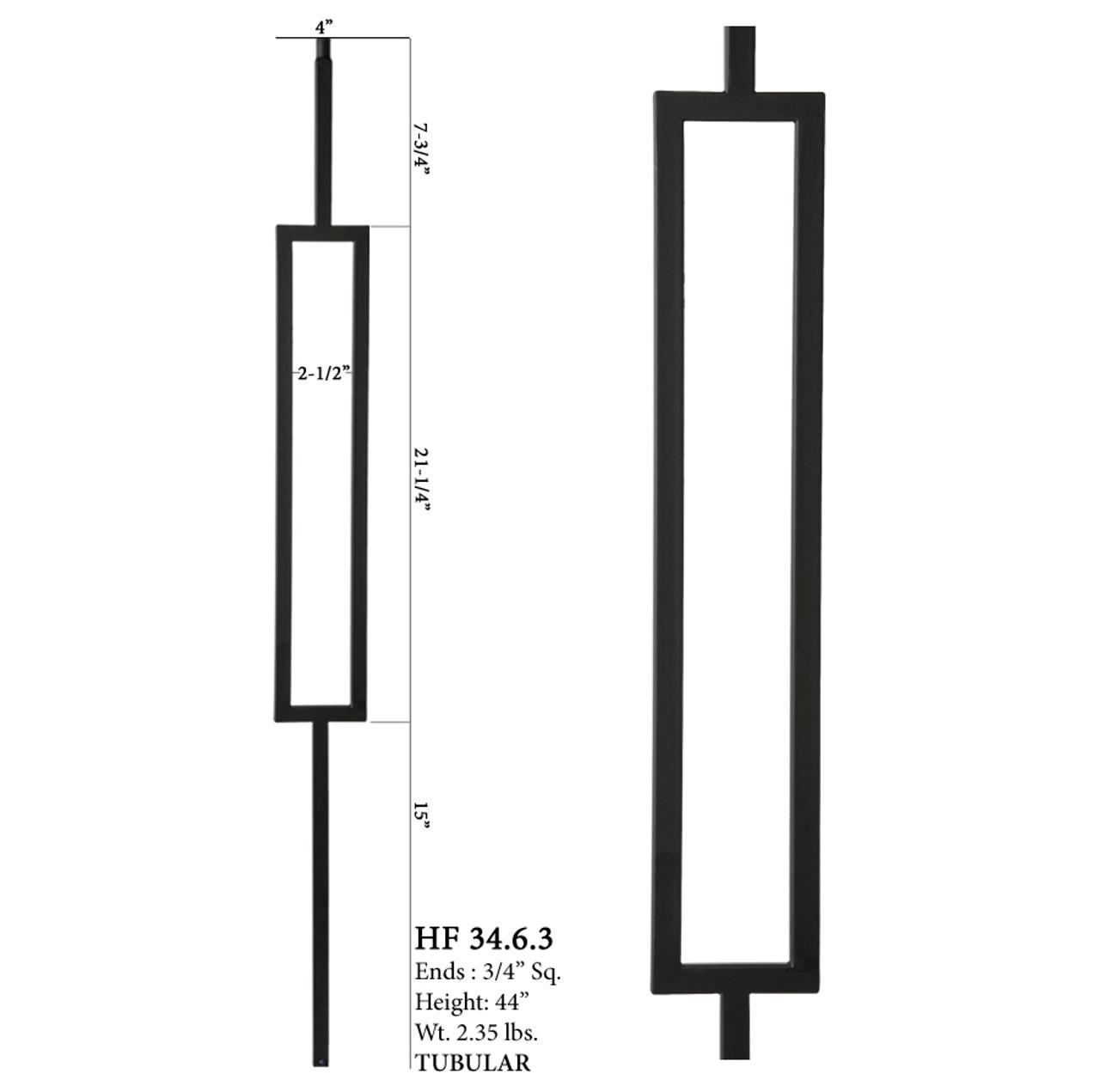 HF34.6.3 MEGA Single Rectangle Aalto Steel Baluster