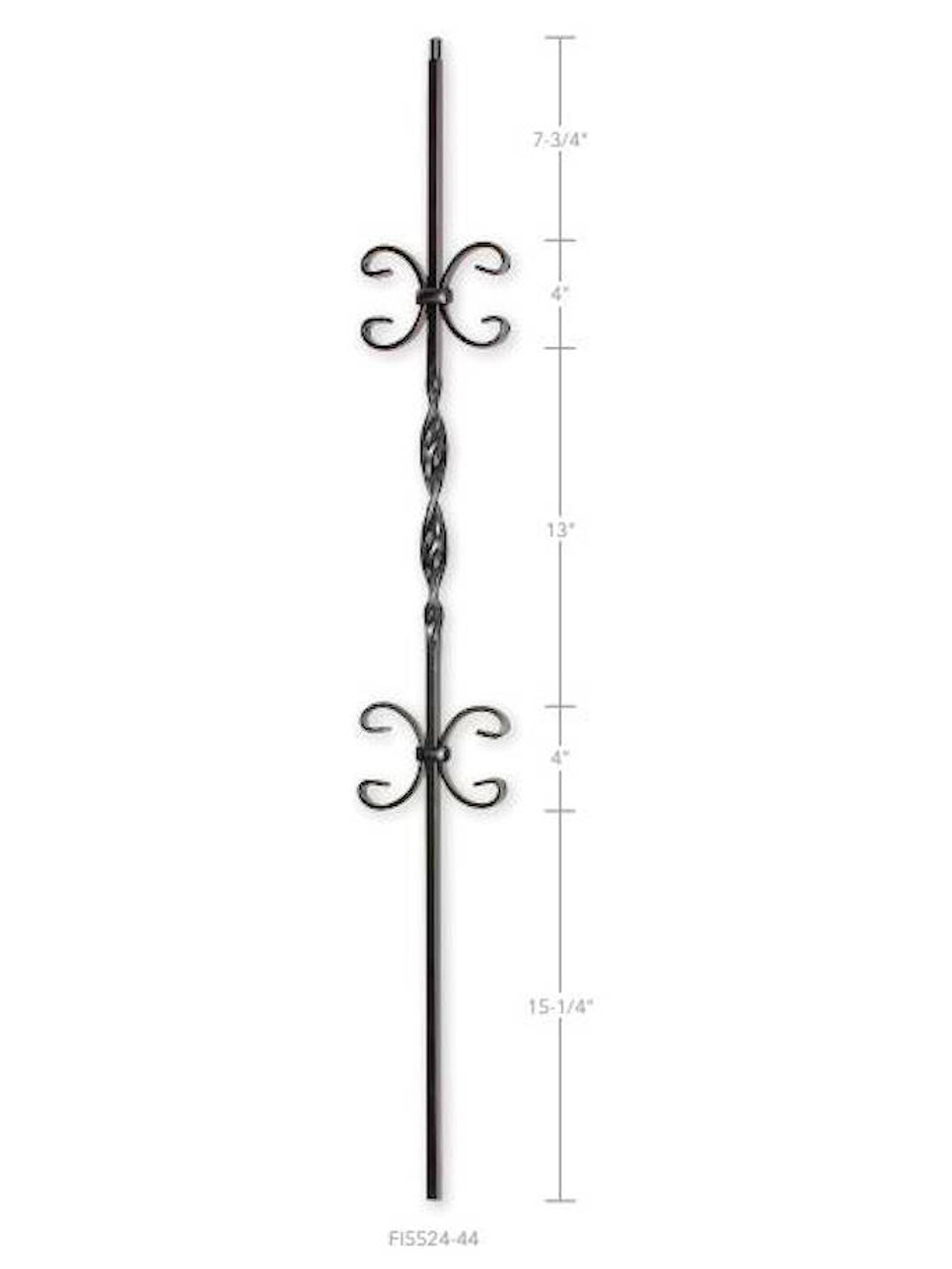 FI5524-44 Two Butterflies and Ribbon Iron Baluster