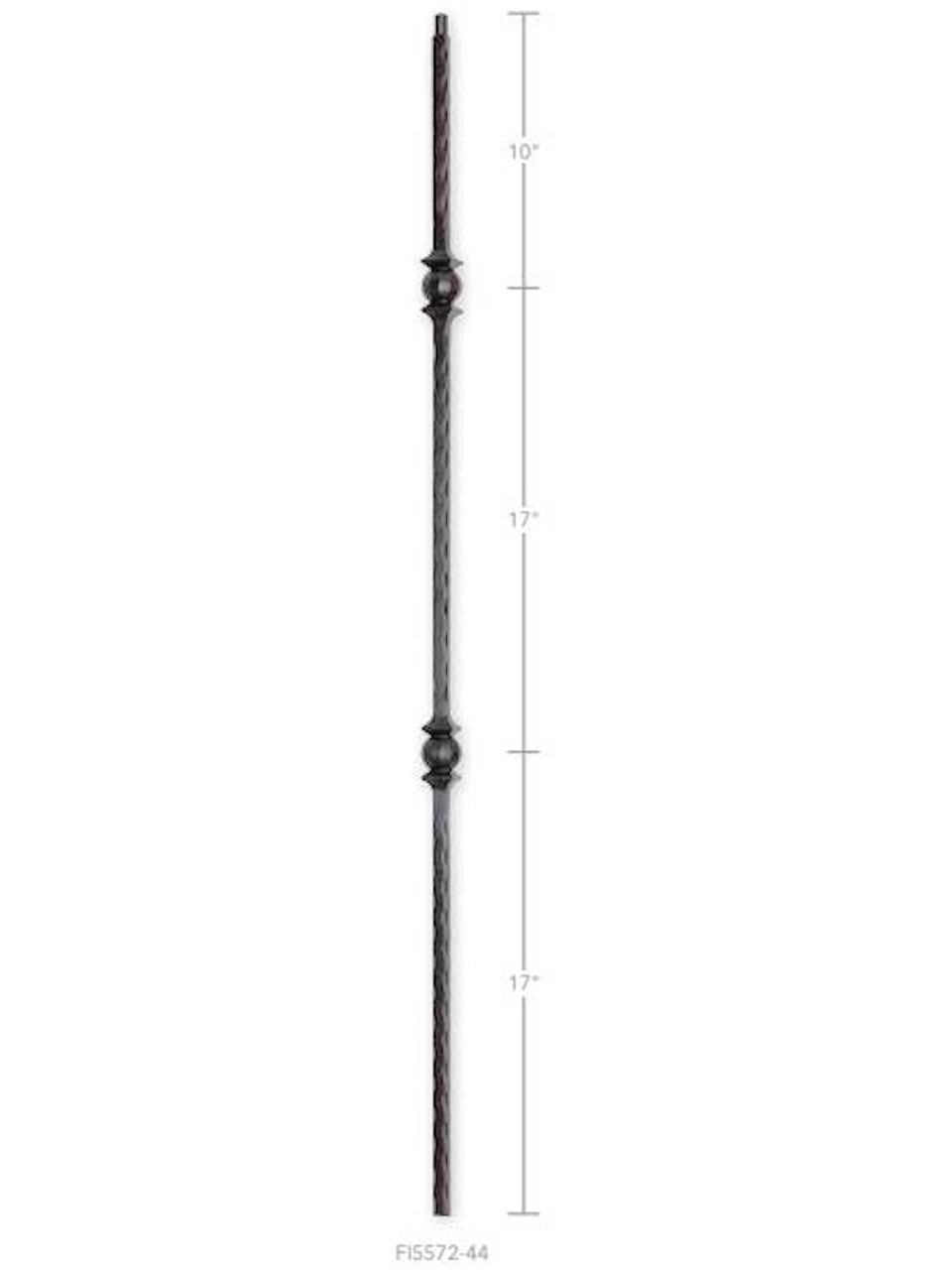 FI5572-44 Hammered Double Ball Iron Baluster