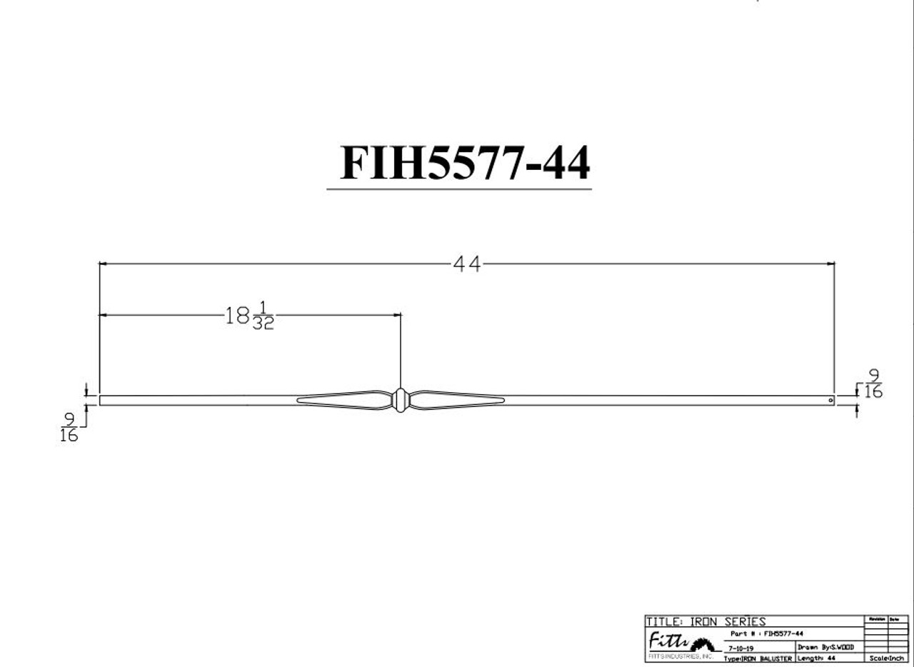"""FIH5577-44 9/16"""" Round Tube Baluster Spoons & Knuckle (Cadd)"""