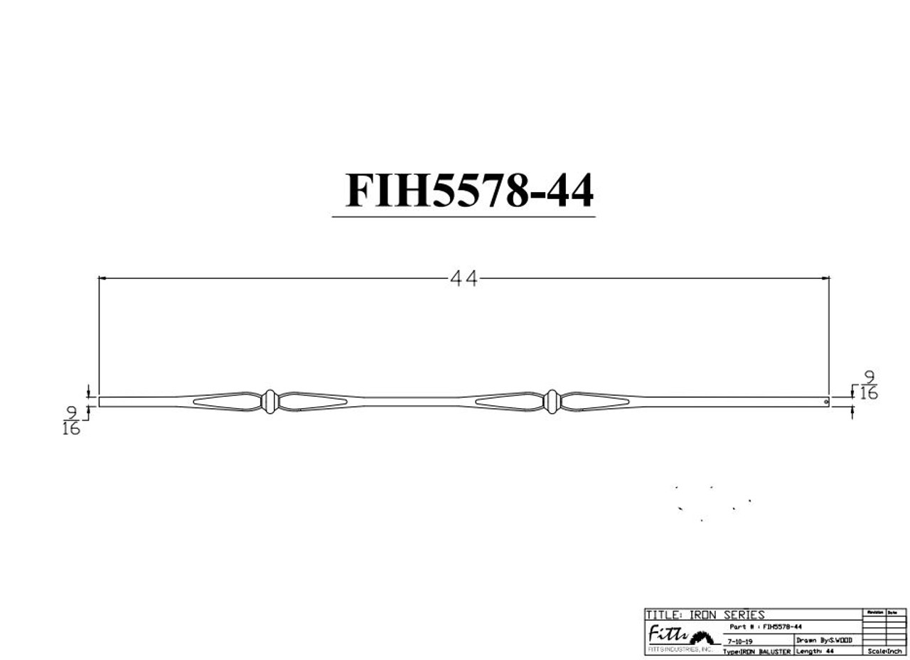 """FIH5578-44 9/16"""" Round Tube Baluster Spoons & Knuckles (Cadd)"""
