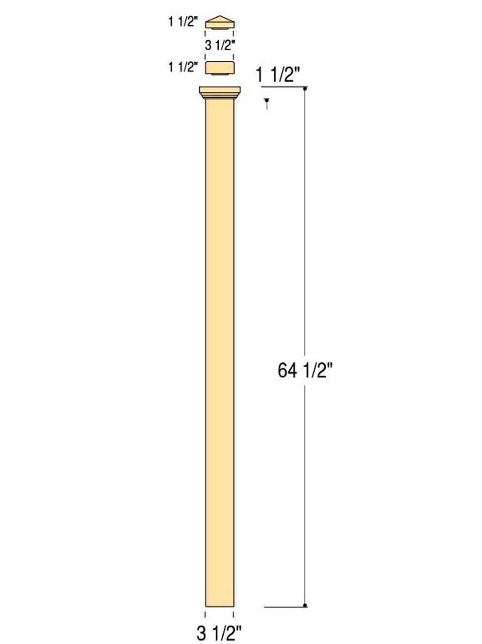 "C-4075 Landing Plain Box Newel Post Dimensional Information (64"" version shown)"