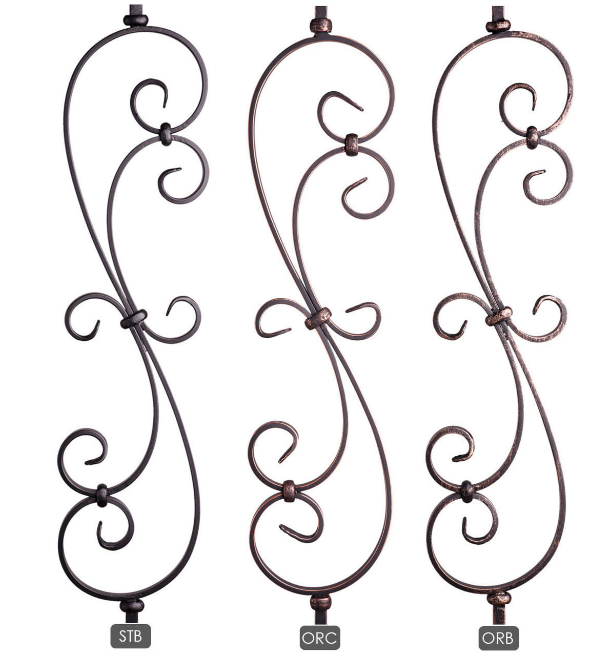 HF16.1.25-T-S Short S-Scroll Iron Baluster Available Powder  Coatings.