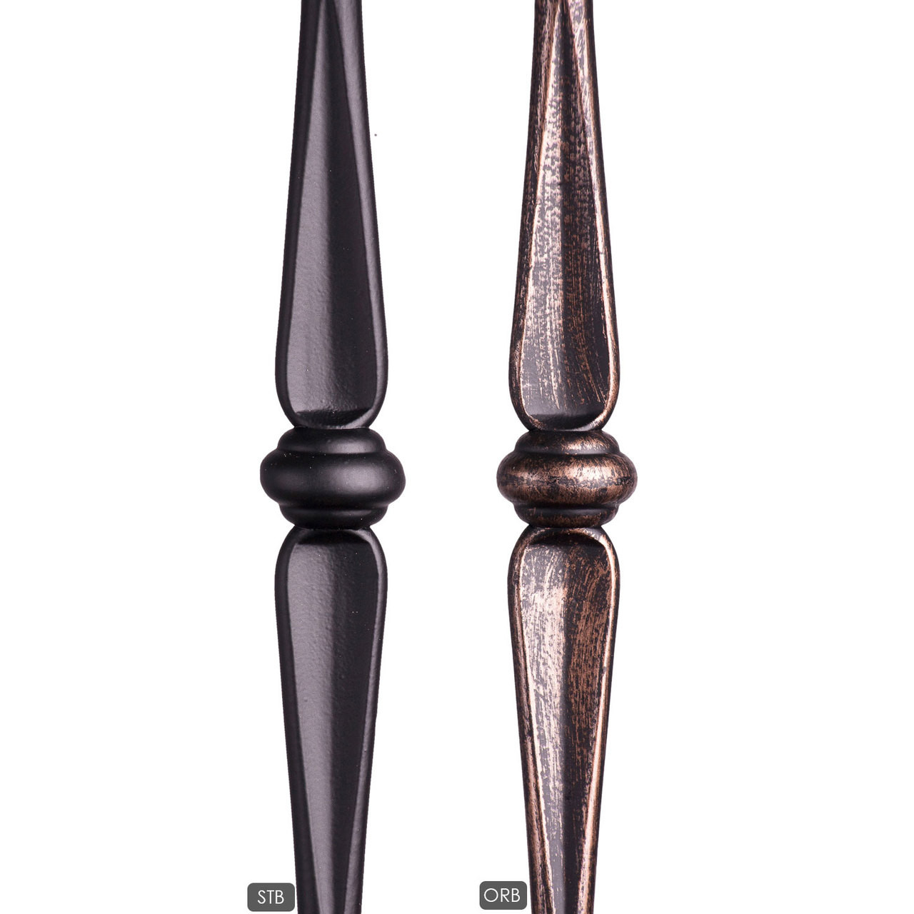 HF1.1.19 Newel is available in a satin black (stb) or oil rubbed bronze (orb) powder coating.