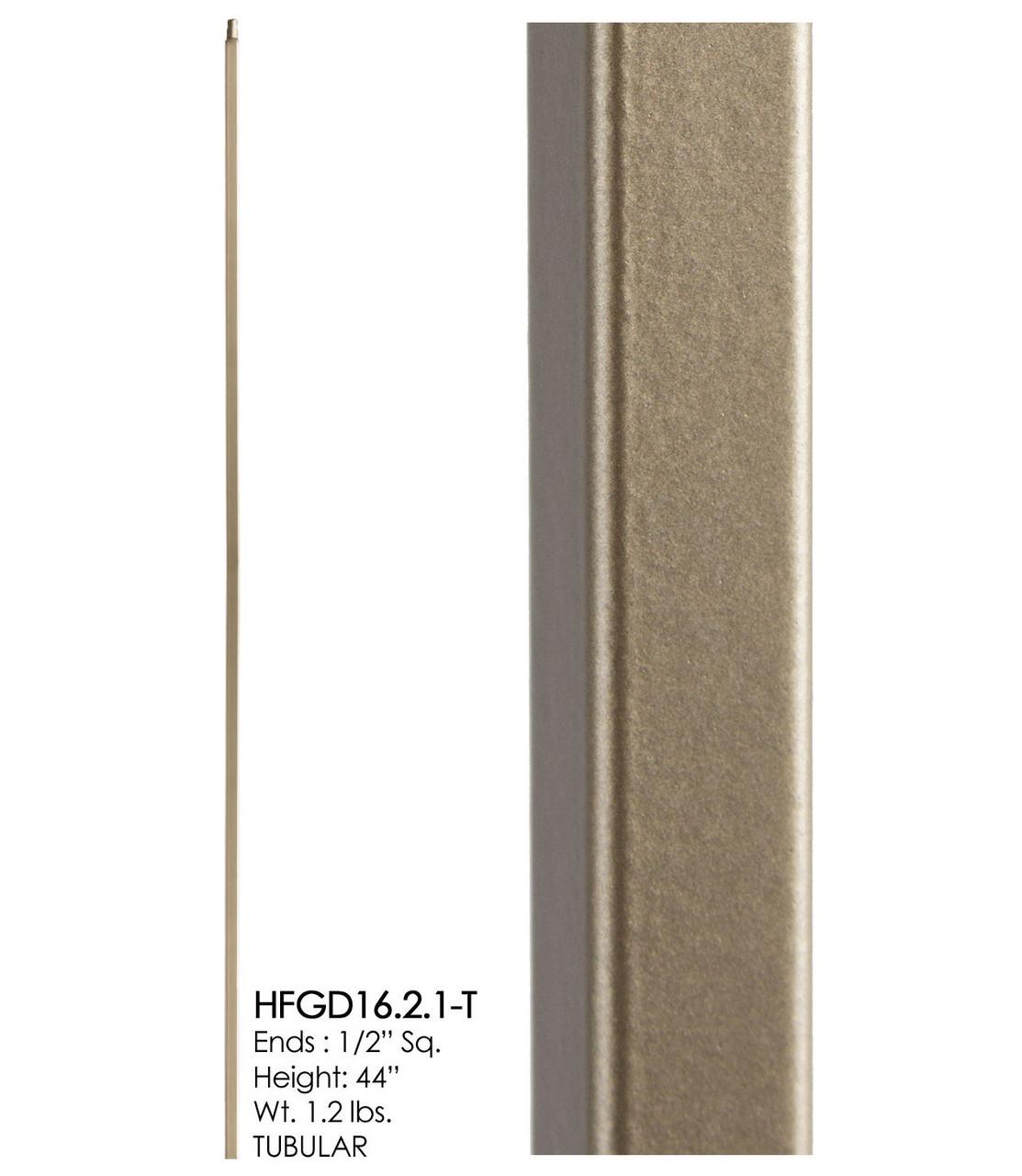 HF16.2.1-T Plain Square Bar Tubular Steel, Dorado Gold