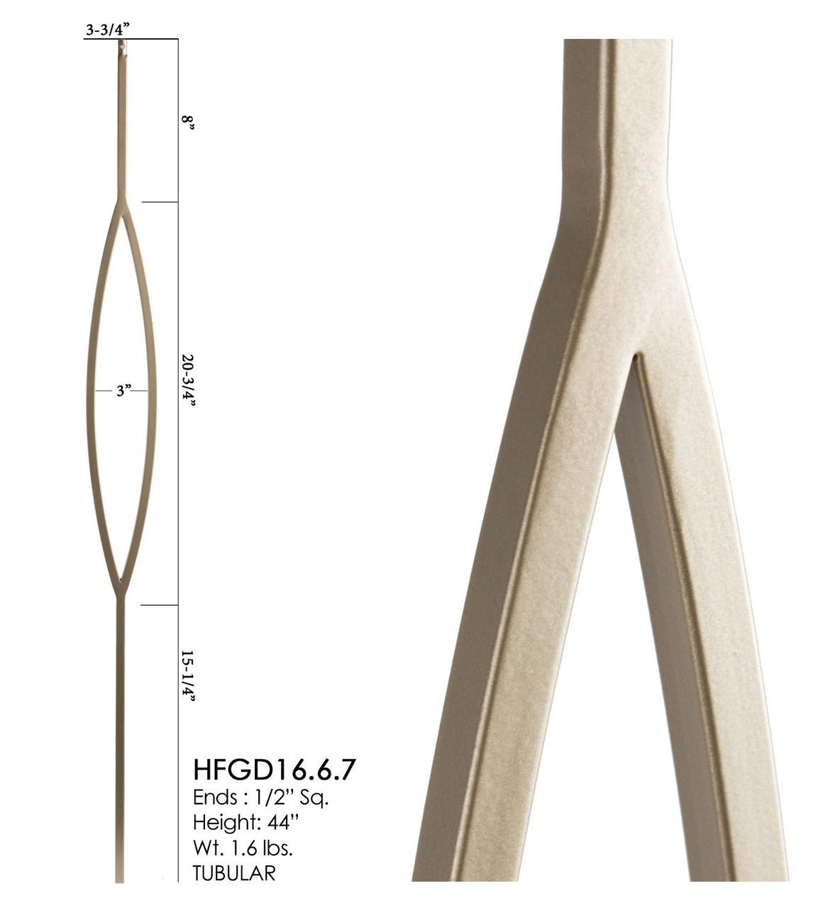 HF16.6.7 Oval Tubular Steel Baluster, Dorado Gold