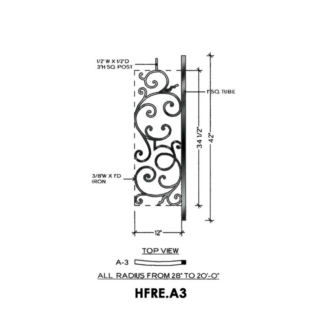 HFRE.A3 Curved Iron Balcony Panel