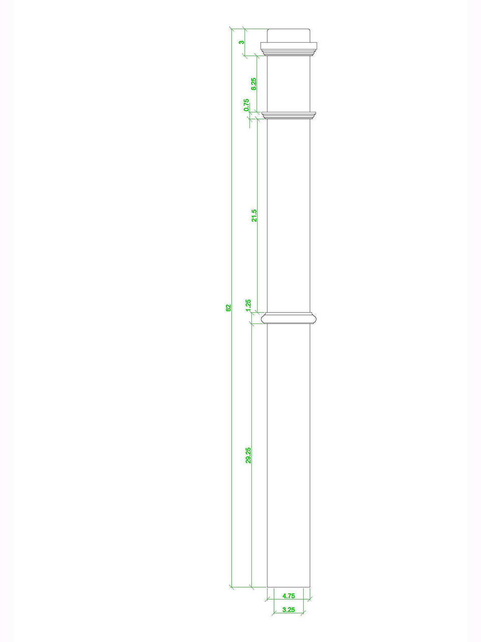4375 Box Newel CADD image