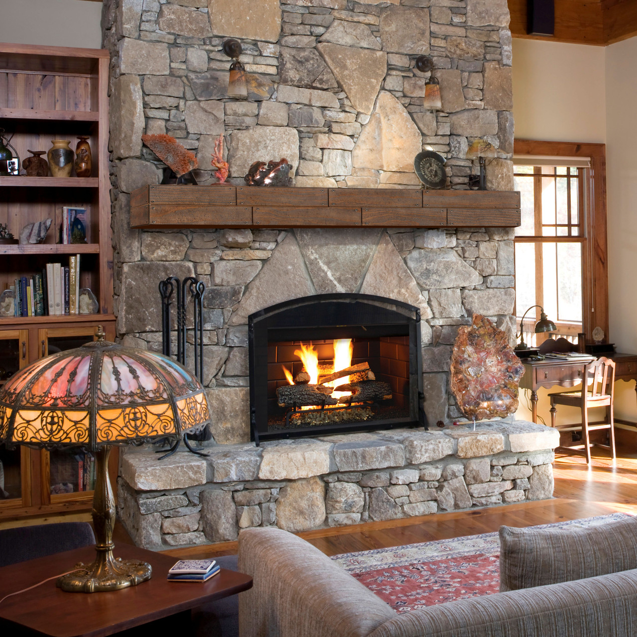 The Cades Shiplap Fireplace Mantel Shelves, Lifestyle view
