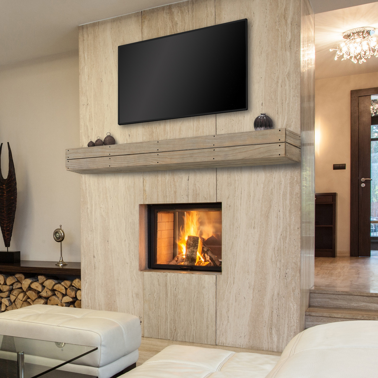 The Cades Pallet Fireplace Mantel Shelves, Life Style View 2