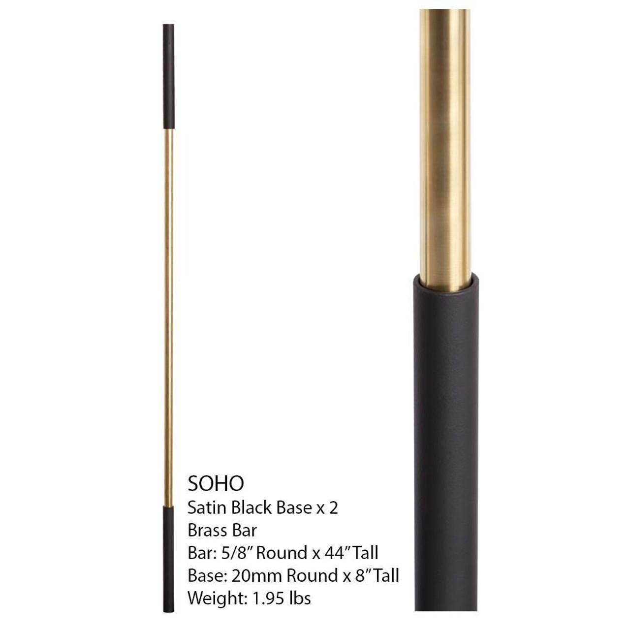 SoHo - Satin Black Base on Brass Baluster (16.4.1) Two Sleeves Info