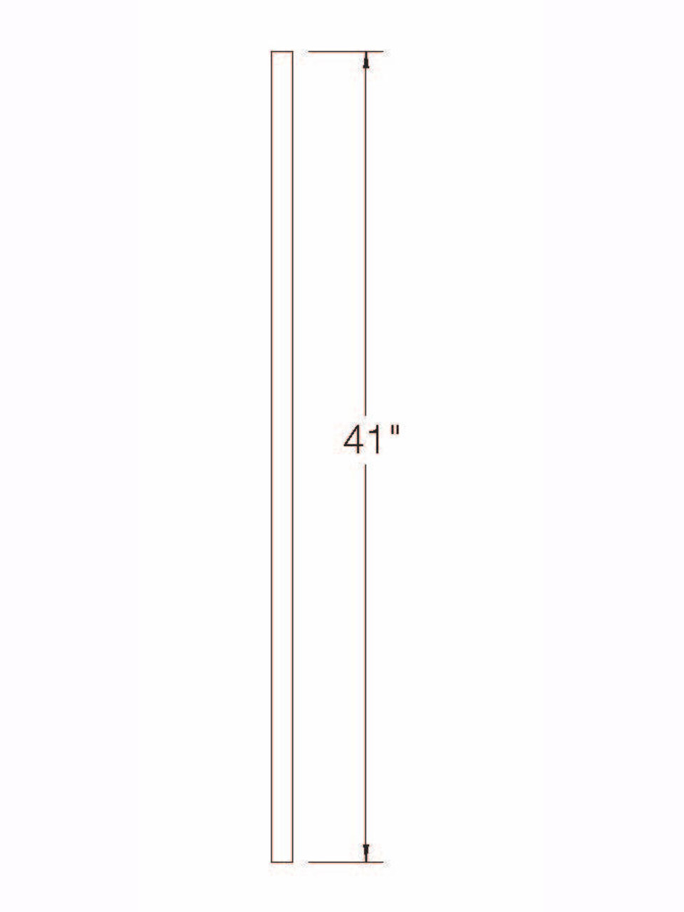 """A-100 41"""" S4S Baluster Dimensional Information"""