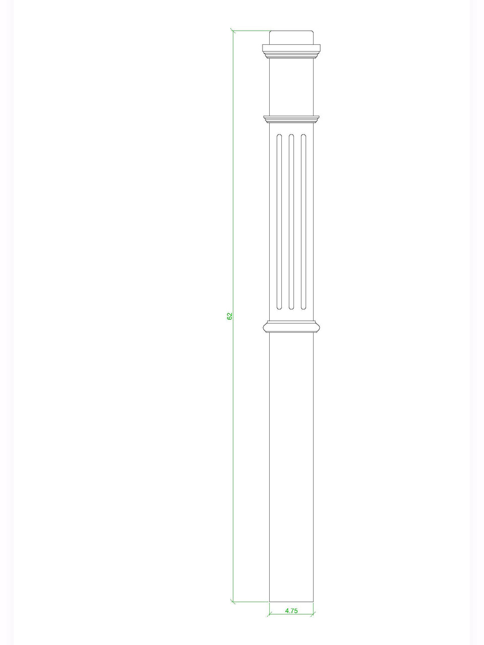 F-4375 Box Newel Post, CADD Image
