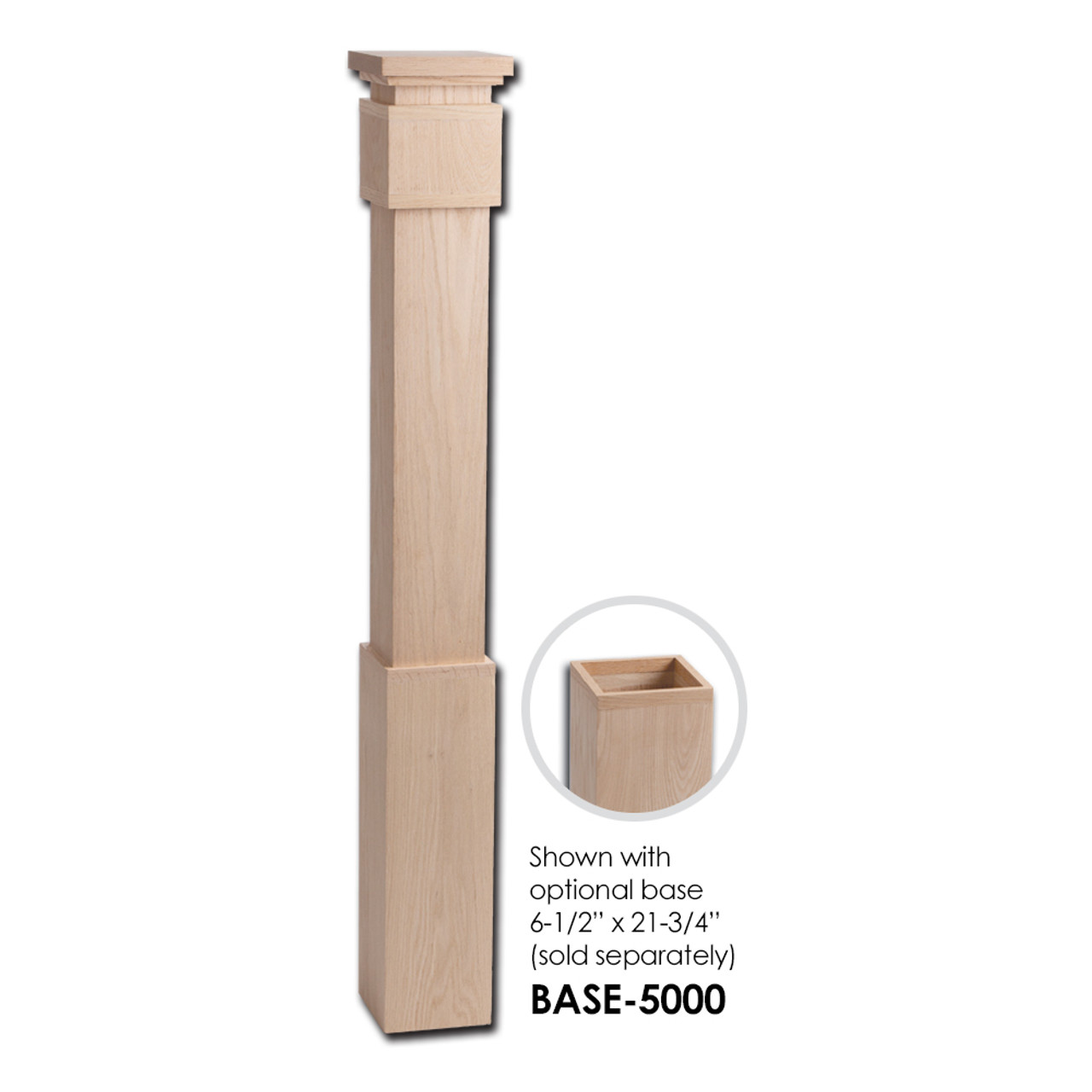 5400 Large Modern Newel Post With Optional Base Sleeve
