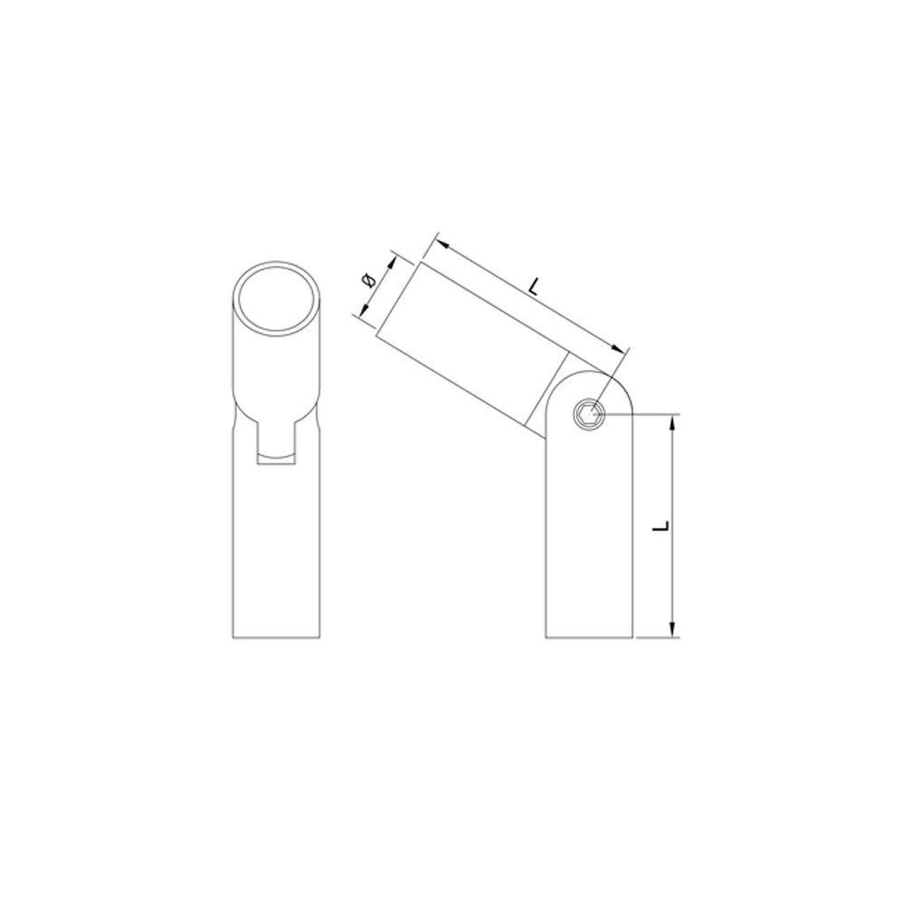 12 mm Round Bar Adjustable Round Bar Connector CADD Drawing
