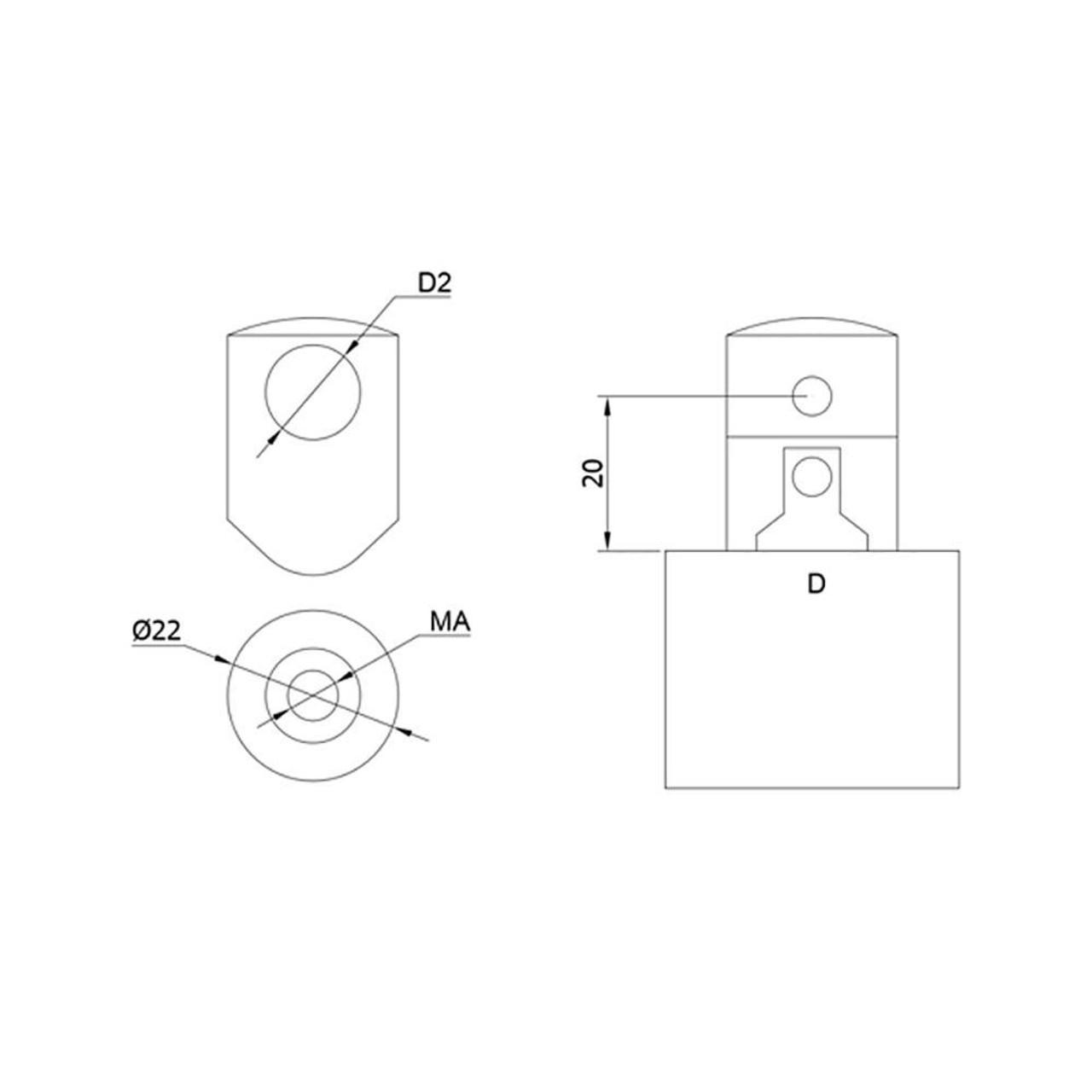 12 mm Round Bar Infill Holder – Fits Flat Newel (AX10.010.205.A.SP) CADD